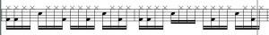 Die Doppelschläge am Anfang des Taktes sind mit Vorsicht zu genießen. Sie beissen sich oft mit der Bassbegleitung.