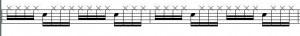 Sechzehntelfigur auf der HiHat. Snareschläge beachten: die HiHat kann der Drumm nicht gleichzeitig spielen.