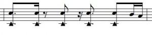 """Ausgangspunkt für das eigentlich Fill. Snare und Becken betonen die Zählzeiten. Hinterher wird mit der Base """"umspielt""""."""