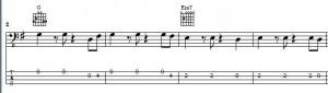 """Der Basslauf """"Stand by me"""" Takt 1 bis 4"""